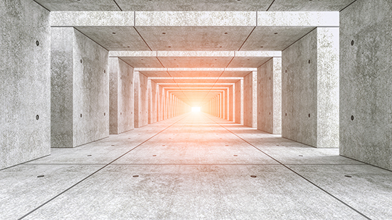 Abstract illuminated empty corridor interior